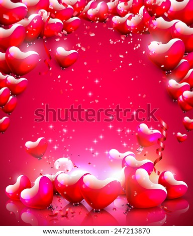 Modern background with glossy heart-shaped balloons and place for your text