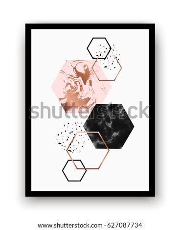 Modern background with marble, copper hexagons. Geometric print for your card, template, brochure. Trendy poster for textile, fabric, web, wallpaper, poster, home design, office design.