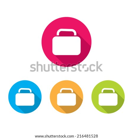 Modern Baggage Icon With Long Shadow - stock vector