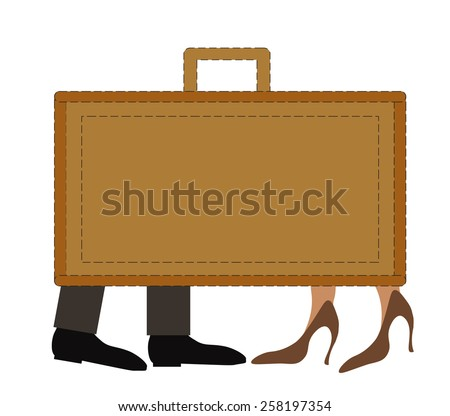Modern baggage with leg of businessmen and businesswomen on white background.Vector illustration - stock vector