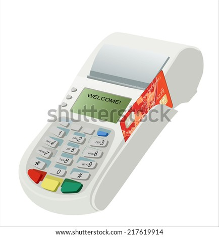 Modern bank terminal on the white. Credit card swipe through terminal for sale - stock vector
