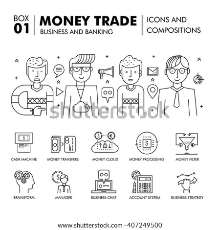 Modern banking business and trade industry thin line block flat icons and compositions, development strategy with information and mobile technologies graph and idea concept information