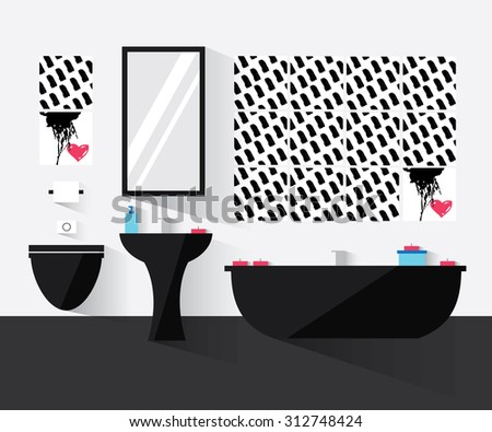 Modern bathroom interior. Bathroom in black and white. Bathroom interior design with long shadows. Modern flat design illustration. Home interior objects. - stock vector