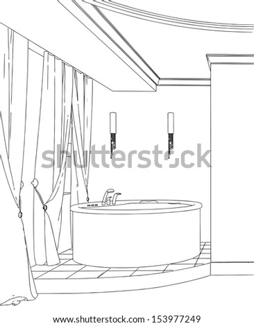 Modern Bathroom Interior Hand Drawing