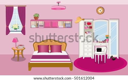 modern bedroom interior design with furniture and window wardrobe with mirrorbed with pillows