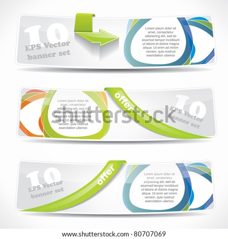 Modern bended website banner set with speech balloons and labels - stock vector