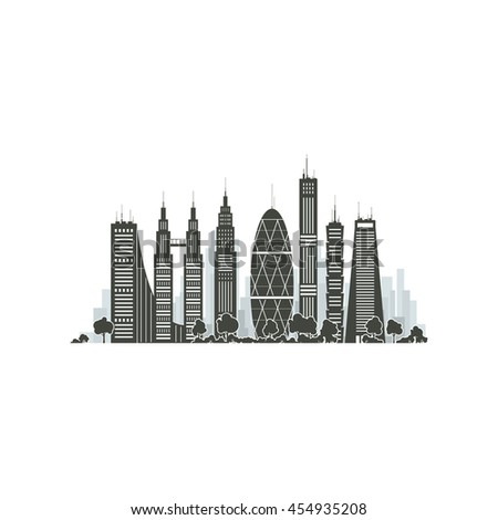 Modern Big City with Buildings and Skyscraper Isolated on White Background , Architecture Megapolis, City Financial Center, Vector Illustration - stock vector