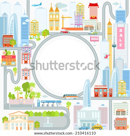 Modern big cityscape as a frame for your text message. Vector illustration - stock vector
