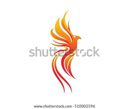 Modern Bird Logo Flaming Phoenix Symbol Stock Vector 510002596