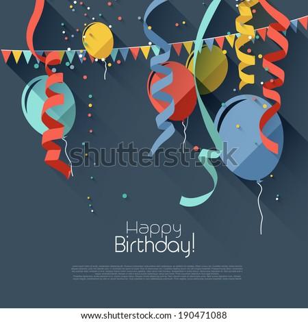 Modern birthday background in flat design style  - stock vector