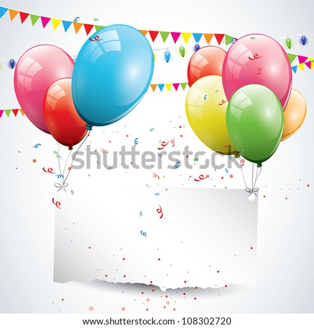 Modern birthday background with balloons and place for text - stock vector
