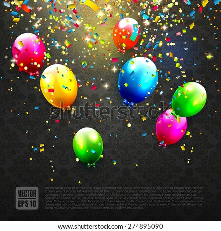 Modern birthday background with colorful balloons and confetti - stock vector