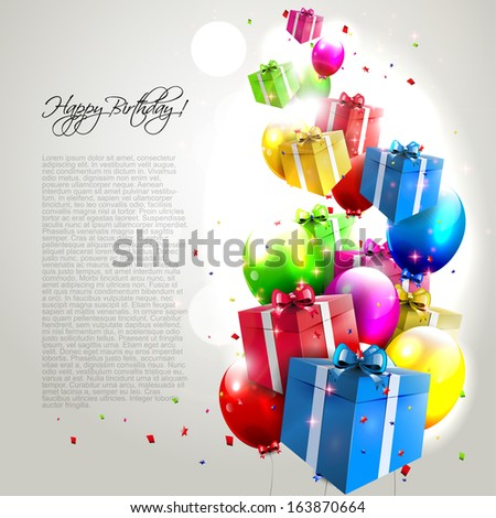 Modern birthday background with colorful balloons and gifts