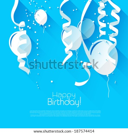 Modern birthday background with confetti and flying balloons - modern flat design style - stock vector