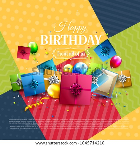 Modern Birthday Greeting Card Iwh Colorful Stock Vector Hd Royalty