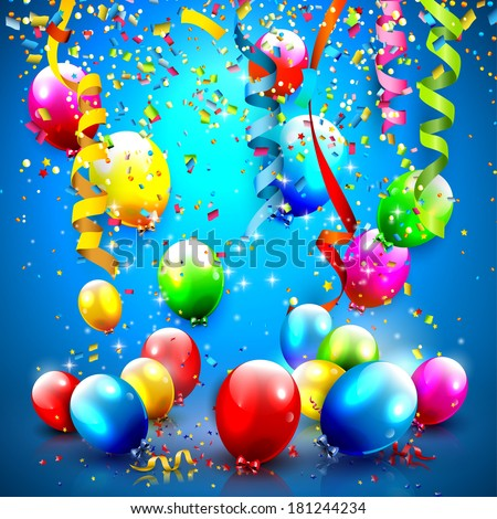 Modern Birthday greeting card with confetti and balloons  - stock vector