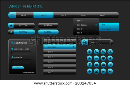 modern black and blue web ui elements, vector illustration, eps 10 with transparency