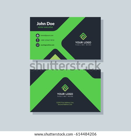 Modern Black Green Business Card Template Stock Vector 614484206