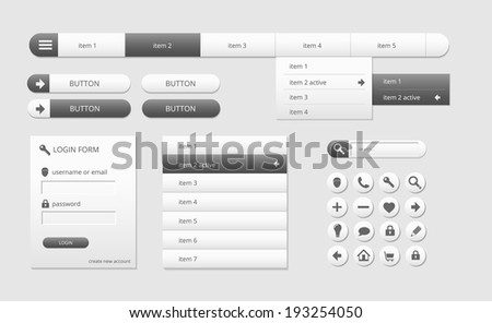 modern black and white web ui elements, vector illustration, eps 10 with transparency - stock vector