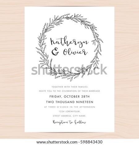 Modern black white wedding invitation card stock vector hd royalty modern black and white wedding invitation card template decorate with hand drawn floral wreath vector stopboris Images