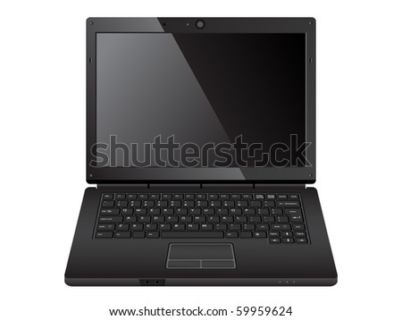 modern black laptop/vector illustration - stock vector
