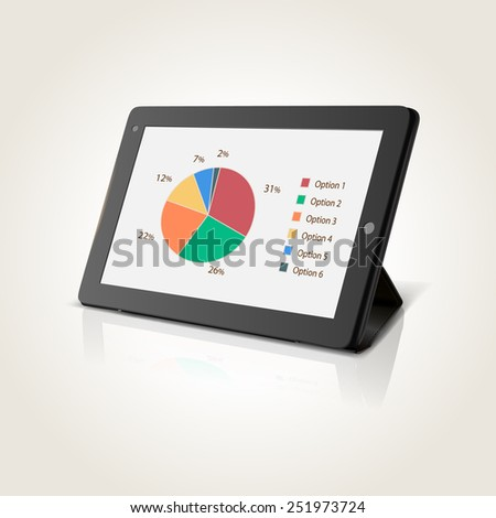 Modern black tablet pc with chart pie on screen, vector illustration - stock vector