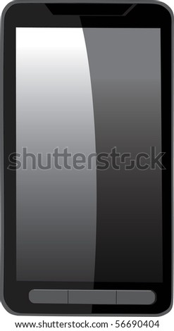 Modern black touch screen vector cell phone isolated on white background - Original design - stock vector