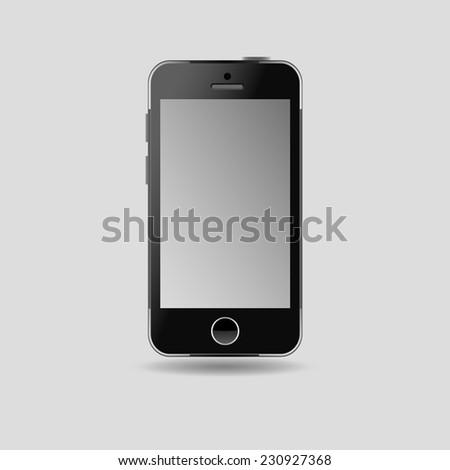 Modern black touchscreen cellphone tablet smartphone on grey backgound - stock vector