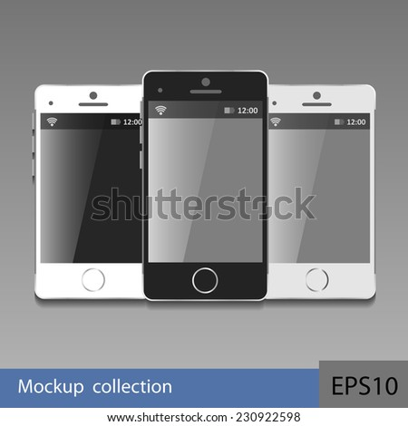Modern black touchscreen cellphone tablet smartphones - stock vector