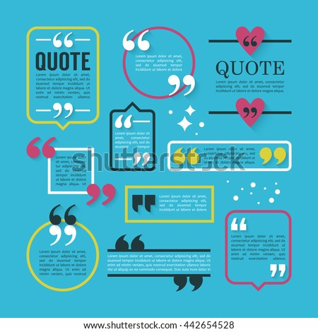 Modern block quote and pull quote line frame design elements. Creative quote text template - stock vector