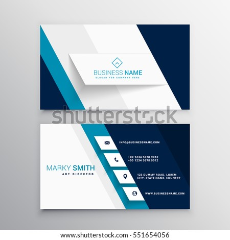 Modern blue white business card template stock vector royalty free modern blue and white business card template wajeb Choice Image