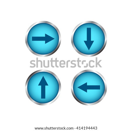 Modern blue buttons with arrows. Creative buttons for website.  Isolated on white background.