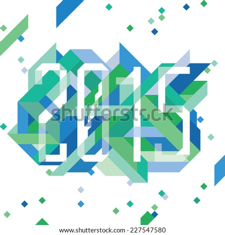 Modern Blue composition with 2015 - stock vector