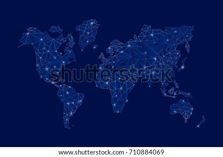 modern blue digital world map concept stock vector royalty free