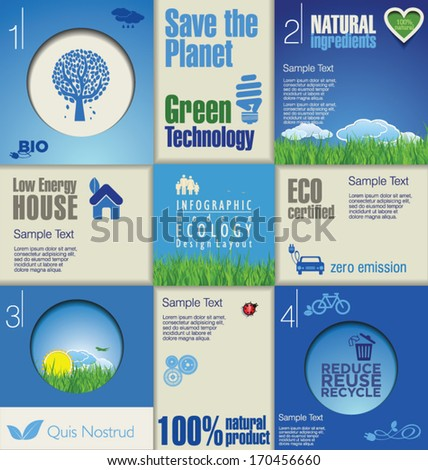 Modern blue ecology Design Layout - stock vector