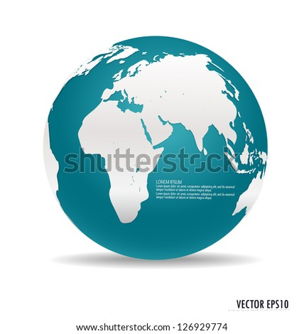 Modern blue globe. Vector illustration. - stock vector