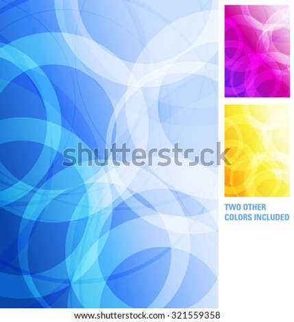 Modern Blue, Purple, Orange Yellow Abstract Background with layered circles and interposing angles creating an abstract pattern - stock vector