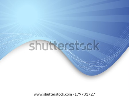 Modern blue ray background template. Vector illustration