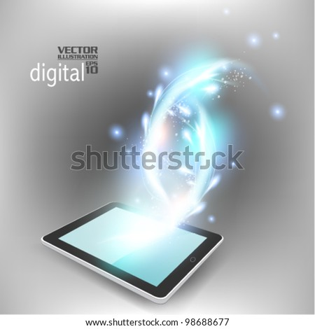 modern blue tablet with digital flare design