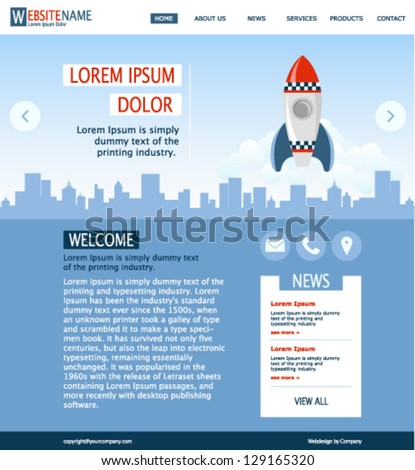 modern blue website template with city landscape and red space rocket - stock vector