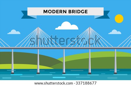 Modern bridge vector illustration. Vector bridge silhouette. Outdoor travel background. Travel bridge vector construction. Bridge construction, fast river,travel, transportation. Modern bridge element