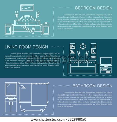 Set Vector Interior Design Rooms Line Stock Vector 600975785 Shutterstock