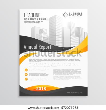 Modern Brochure Flyer Template Design Yellow Stock Vector Hd