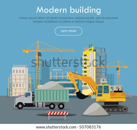 Modern building conceptual web banner flat stock vector for House construction companies
