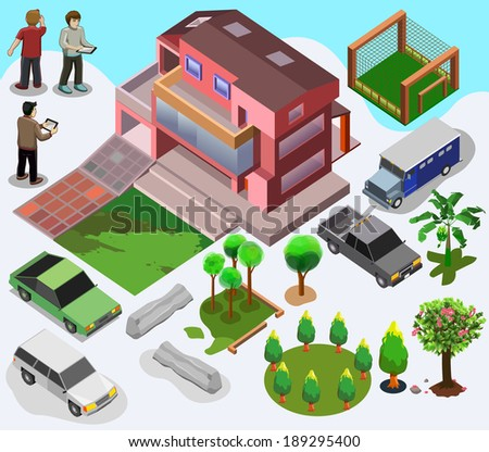 modern building isometric. house, people, tree, sport centre, car vector - stock vector