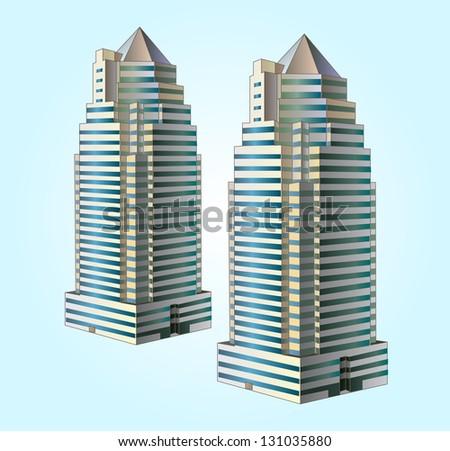 Modern buildings in vector - stock vector