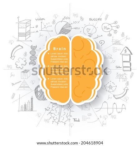 Modern business brain concepts in flat design for web, mobile applications, seo optimizations, business, social networks, e-commerce,planning and teamwork - stock vector