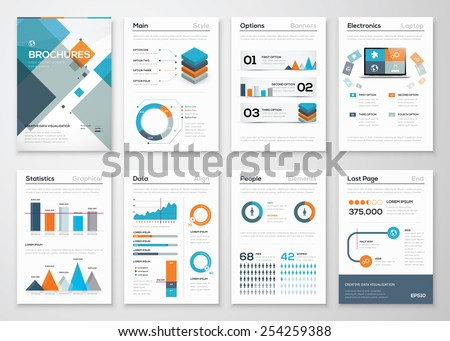 Modern business brochures and infographic vector elements. Illustrations of modern info graphics. Use in website, flyer, corporate report, presentation, advertising, marketing etc. - stock vector