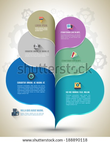 Modern business bubble speech template style with flat icons. Vector illustration. can be used for workflow layout, diagram, number options, step up options, web design, banner template, infographic. - stock vector