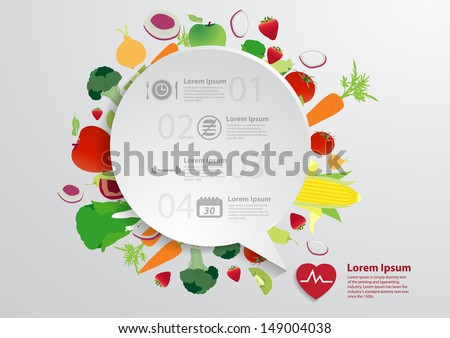 Modern business bubble speech template with fruits and vegetables healthy food icons, Workflow layout, diagram, step up options, Vector illustration modern template design - stock vector